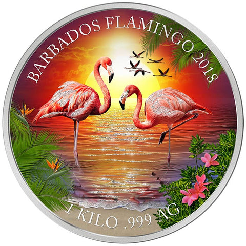 2018 Barbados 1 Kilogram Flamingos Colored Proof Like Silver Coin Set