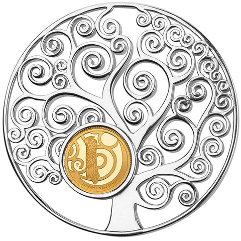 2018 Barbados Klimt Tree of Life 1 Gram Gold and 8.5 Gram Silver Proof Coin Pendant