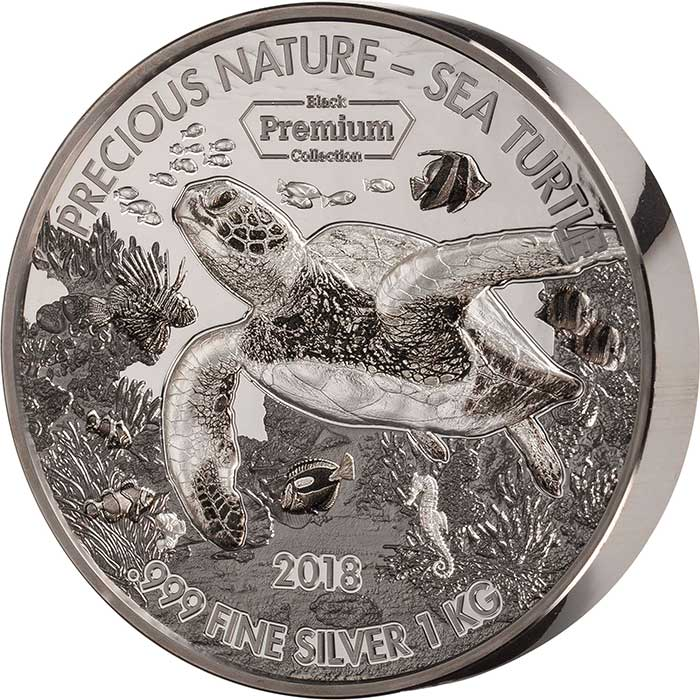 2018 Benin 1 Kilogram Black Premium Precious Nature Turtle Rhodium and Palladium Silver Coin