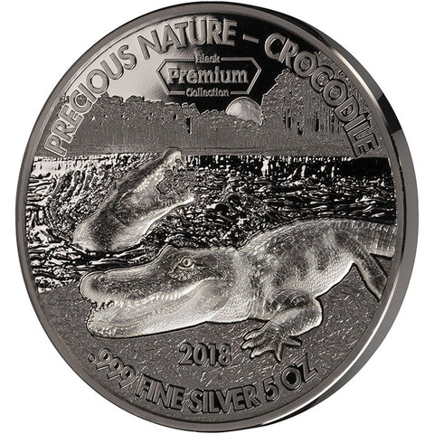 2018 Benin 5 Ounce Black Premium Precious Nature Crocodile Rhodium and Palladium Silver Coin