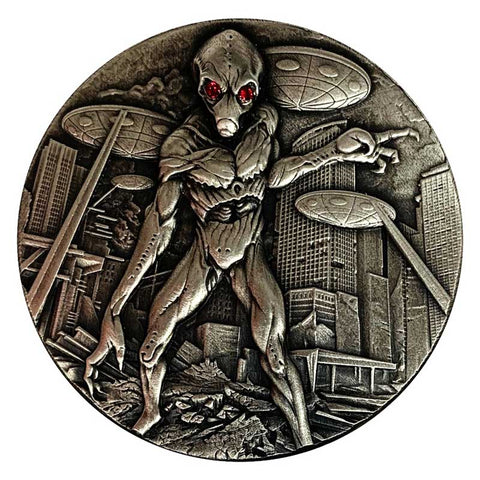 2018 Chad 2 Ounce Alien Invasion 10,000 Francs CFA Antique Finish .999 Silver Coin