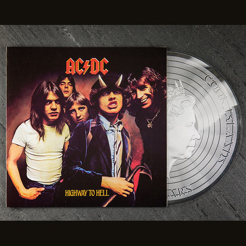 2018 Cook Islands 1/2 Ounce AC/DC Highway to Hell Colored .999 Silver Proof-like Foil Coin