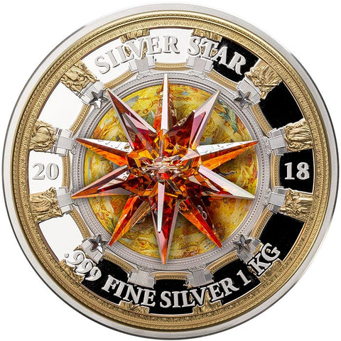 2018 Cook Islands 1 Kilogram Giant Moravian Star Swarovski Crystal St. Isaac's Cathedral Silver Coin