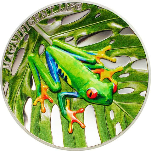 2018 Cook Islands 1 Ounce Magnificent Life Red Eyed Tree Frog Colored Proof Silver Coin