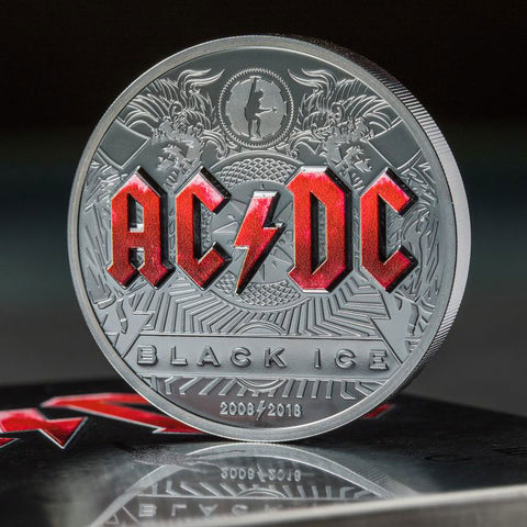 2018 Cook Islands 2 Ounce AC/DC Black Ice .999 Black Proof Silver Coin Set