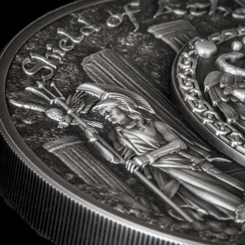 2018 Cook Islands 2 Ounce Shield of Athena Aegis High Relief .999 Silver Coin