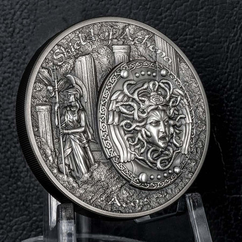 Cook Islands Shield of Athena Aegis Ultra High Relief Silver Coin