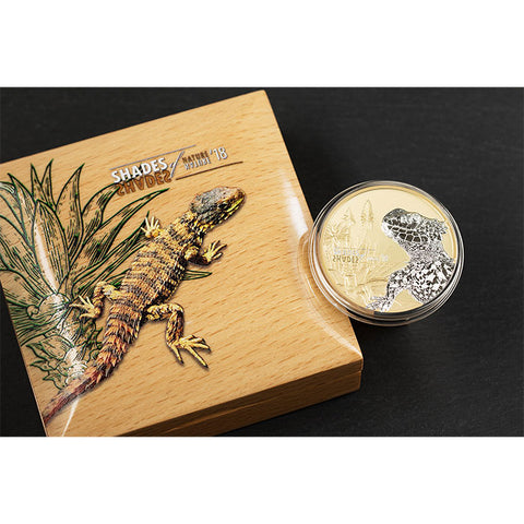 2018 Cook Islands 25 Gram Shades of Nature Sun Gazer Lizard Silver Proof Coin Set - Art in Coins
