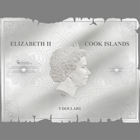 2018 Cook Islands 30 Gram Historical Maps Waldseemuller Proof-Like Silver Note