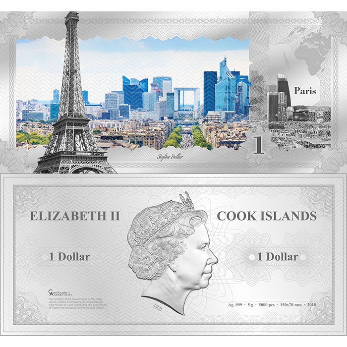 2018 Cook Islands 5 Gram Paris Skyline Dollar Minted Silver Bank Note
