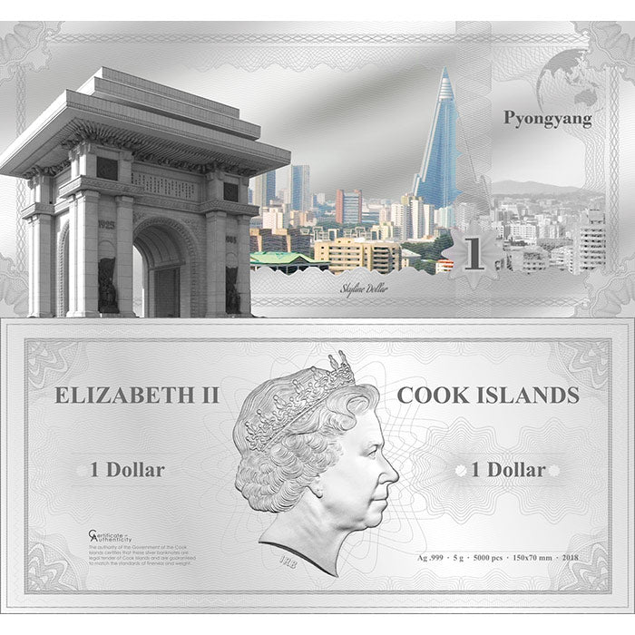 2018 Cook Islands 5 Gram Pyongyang Skyline Dollar Minted Silver Bank Note