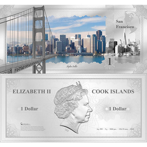 2018 Cook Islands 5 Gram San Francisco Skyline Dollar Minted Silver Bank Note