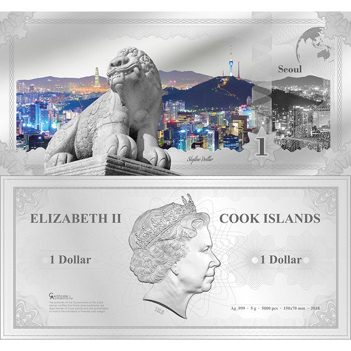 2018 Cook Islands 5 Gram Seoul Skyline Dollar Minted Silver Bank Note