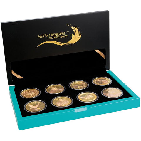 2018 Eastern Caribbean 8 X 1 Ounce Gold Plated Silver Coin Collection