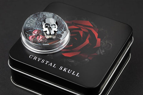 2018 Equatorial Guinea 1 Ounce Vanity Crystal Skull Silver Proof Coin Set w Swarovski Element