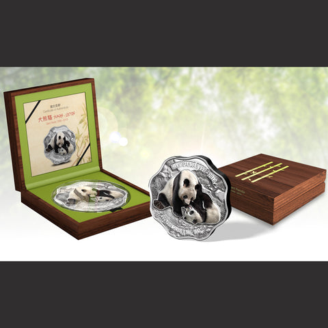 2018 Fiji 1 Kilogram 20th Anniversary of the Giant Panda Blossom Shaped Colored Silver Coin