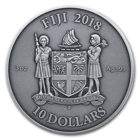2018 Fiji 3 Ounce Mandala Art Moresque Ultra High Relief Silver Proof Coin w Antique Finish
