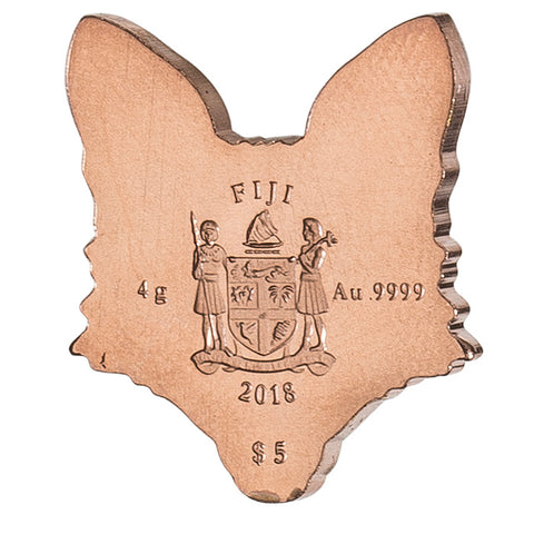 2018 Fiji 4 Gram Brilliant Animal Mask Fox Shape Minted .9999 Gold Coin
