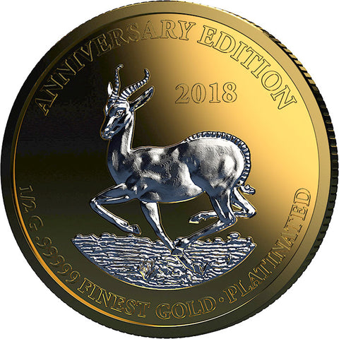 2018 Gabon 7 X 1/2 Gram Anniversary Edition .99999 Gold Platinum Collection