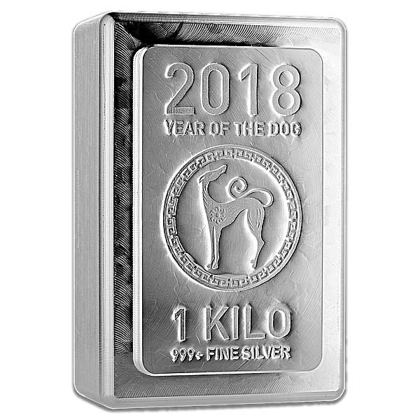 2018 Heraeus 1 Kilogram Lunar Year of the Dog .999 Silver Bar