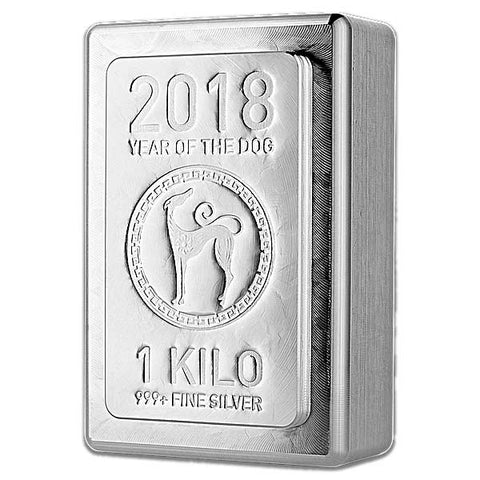 2018 Heraeus 1 Kilogram Lunar Year of the Dog Silver Bar