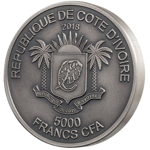 2018 Ivory Coast 1 Kilogram Mauquoy Mint Big 5 Elephant High Relief Silver Proof Coin