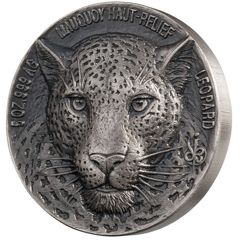 2018 Ivory Coast 5 Ounce African Big 5 Jaguar Mauquoy Mint High Relief Silver Proof Coin