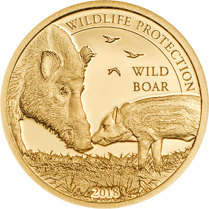 2018 Mongolia 1/2 Gram Wildlife Protection Wild Boar Sus Scrofa .9999 Gold Proof Coin