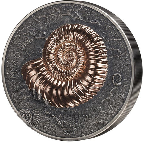 2018 Mongolia 1 Kilogram Evolution of Life Ammonite Antique Finish and Rose Gold Silver Coin