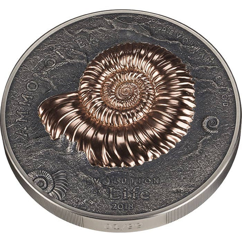 2018 Mongolia 1 Kilogram Evolution of Life Ammonite Antique Finish Rose Gold Silver Coin