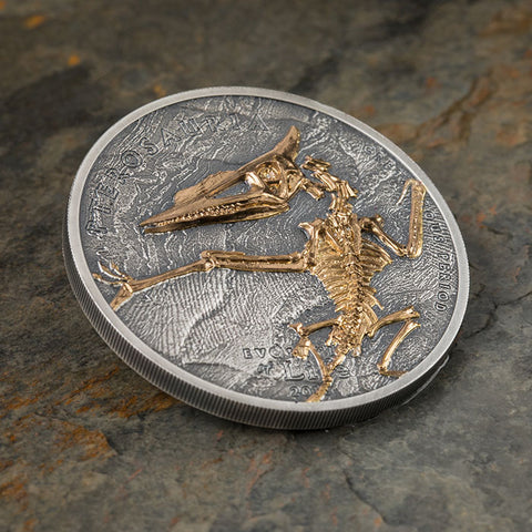 2018 Mongolia 1 Ounce Evolution of Life Pterosaur .999 Antique Finish Silver Coin