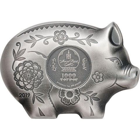2019 Mongolia 1 Ounce Lunar Year Collection Jolly Pig Sculptured .999 Silver Coin