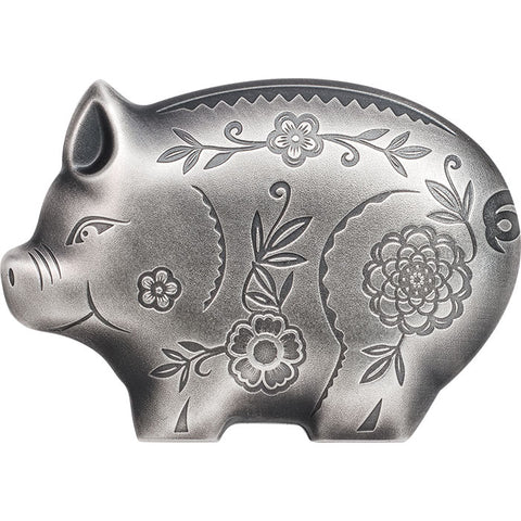 2018 Mongolia 1 Ounce Lunar Year Collection Jolly Pig Sculptured .999 Silver Coin