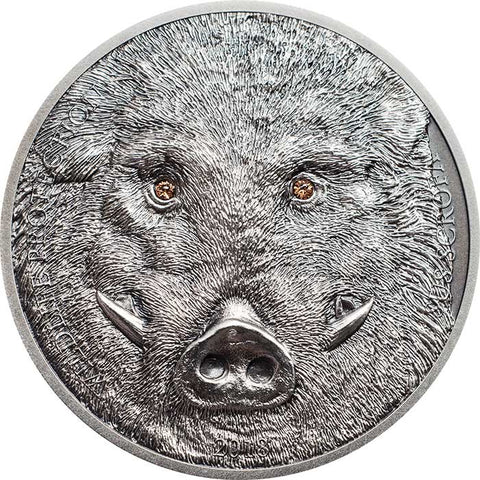 2018 Mongolia 1 Ounce Wildlife Protection Wild Boar Sus Scrofa High Relief Silver Coin - Art in Coins