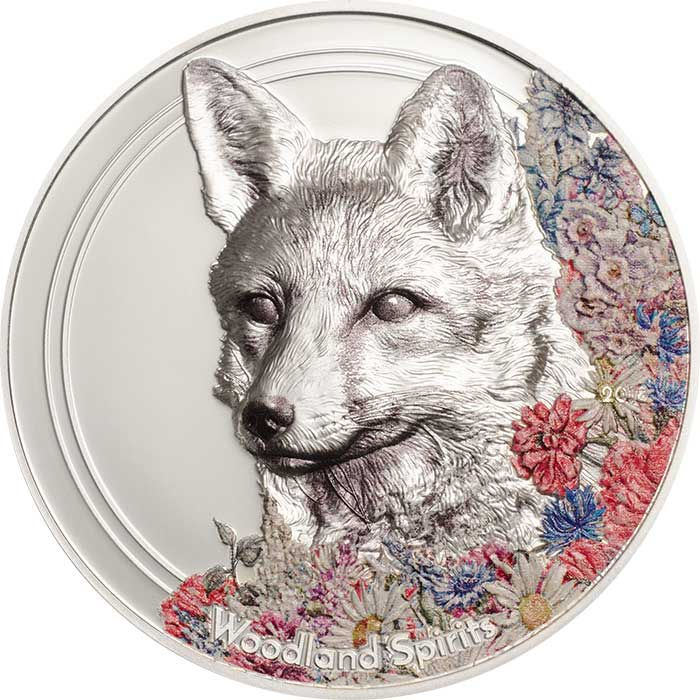 2018 Mongolia 1 Ounce Woodland Spirits Fox High Relief Colored Silver Coin - Art in Coins