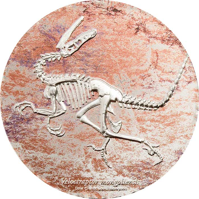 2018 Mongolia 3 Ounce Velociraptor Mongoliensis Fossil High Relief Silver Coin - Art in Coins