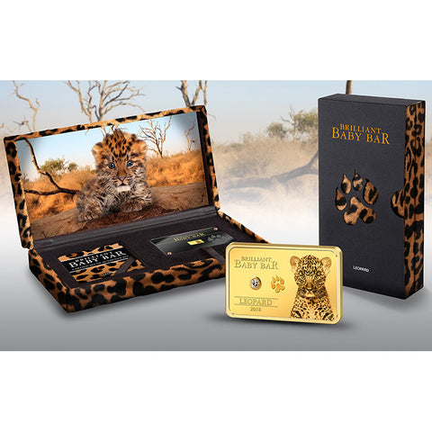 2018 Niue 1 Gram Brilliant Baby Bar Leopard .9999 Gold Proof Coin