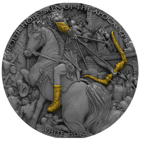 2018 Niue 2 Ounce Four Horsemen of the Apocalypse White Horse High Relief Silver Coin w Antique Finish
