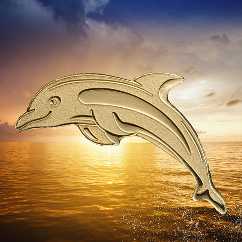 2018 Palau 1/2 Gram Dolphin Sculptured .9999 Brilliant Uncirculated Gold Coin