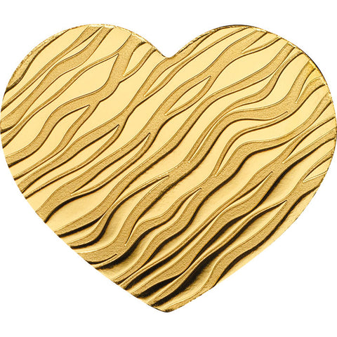 2018 Palau 1/2 Gram Little Treasures Heart Shaped .9999 Silk Finish Gold Coin