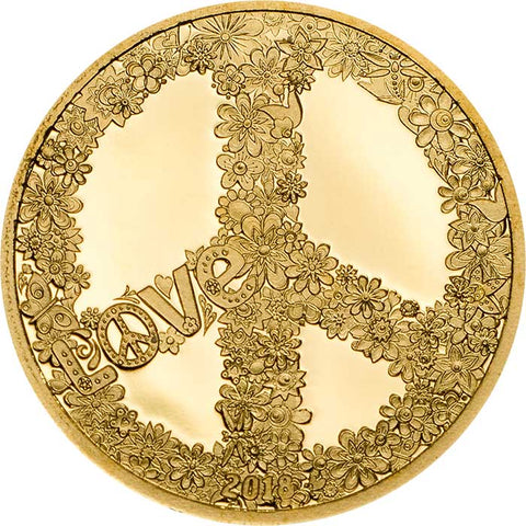 2018 Palau 1/2 Gram Love and Peace .9999 Gold Proof Coin