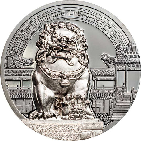 2018 Palau 2 X 2 Ounce Chinese Guardian Lions Black Proof Silver Coin - Art in Coins