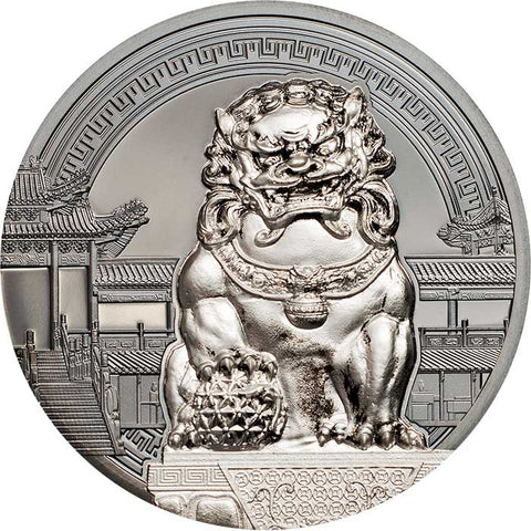 2017 Palau 2 X 2 Ounce Chinese Guardian Lions Black Proof Silver Coin Set