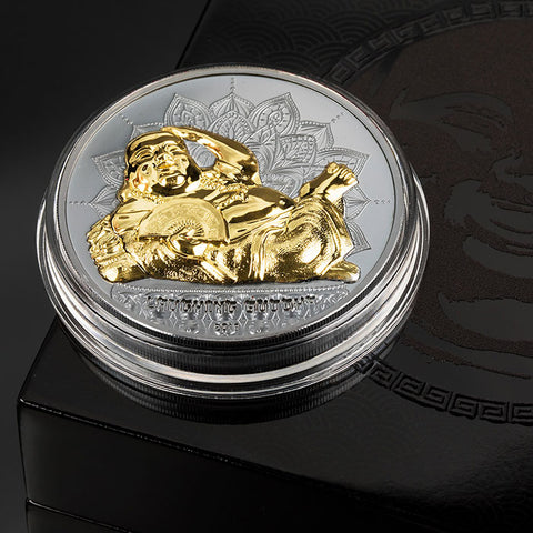 2018 Palau 2 Ounce Laughing Buddha Black Proof .999 Silver Coin Set