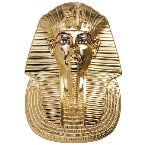 2018 Palau 3 Ounce Tutankhamun's Mask 3D Shaped Gold Gilded .999 Silver Coin