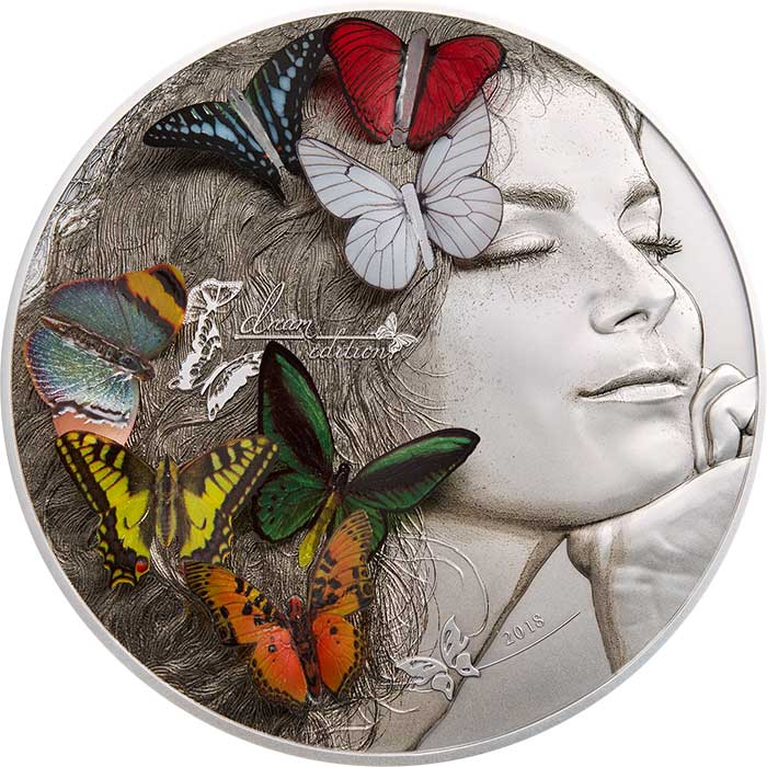 2018 Palau 5 Ounce Exotic Butterflies Dream Edition Silver Coin - Art in Coins
