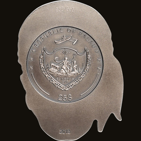2018 Palau 1/2 Kilogram Big Pirate Skull 3D Shaped .999 Antique Finish Silver Coin