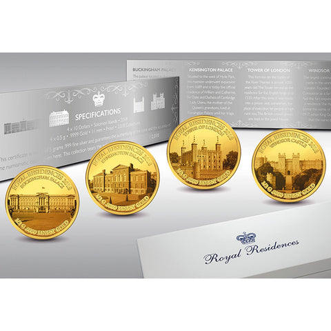 2018 Solomon Islands 4 X 1/2 Gram Royal Residences .9999 Gold Proof Coin Set
