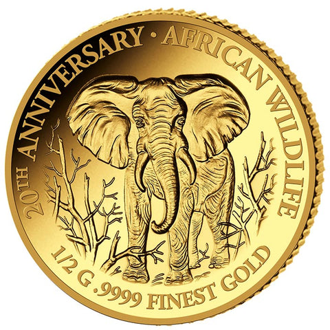 2018 Somalia African Wildlife Elephant 20 X 1/2 Gram .9999 Gold Proof Coin Collection