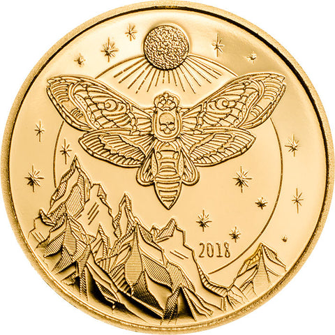 2018 Tanzania 1/2 Gram Death's Head Hawkmoth .9999 Gold Proof Coin